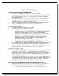 Honeywell Vs. Epa Decision by Environmental Protection Agency