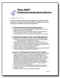 10 Department-Wide Management Objectives by Environmental Protection Agency