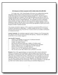 Epa Response to Public Comments for Epa ... by Environmental Protection Agency
