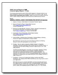 Fgdc Annual Report to Omb Format for Age... by Environmental Protection Agency