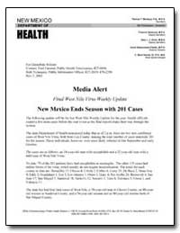 Media Alert Final West Nile Virus Weekly... by Montoya, Patricia T.