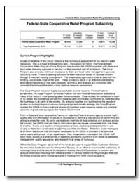 Federal-State Cooperative Water Program ... by Environmental Protection Agency