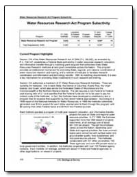 Water Resources Research Act Program Sub... by Environmental Protection Agency