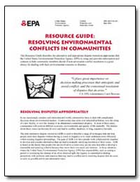 Resource Guide : Resolving Environmental... by Environmental Protection Agency
