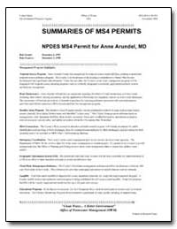 Summaries of Ms4 Permits by Environmental Protection Agency