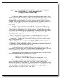 Response to the External Peer-Review and... by Environmental Protection Agency