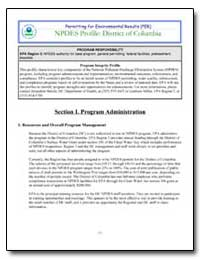 Npdes Profile : District of Columbia by Environmental Protection Agency