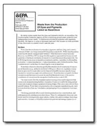 Waste from the Production of Dyes and Pi... by Environmental Protection Agency