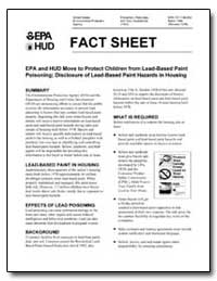 Fact Sheet-Epa and Hud Move to Protect C... by Environmental Protection Agency