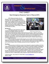 New Emergency Response Team in Place at ... by Environmental Protection Agency