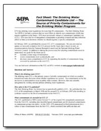 Fact Sheet : The Drinking Water Contamin... by Environmental Protection Agency