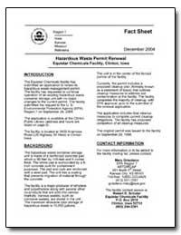 Hazardous Waste Permit Renewal Equistar ... by Environmental Protection Agency