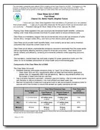 Clear Skies Act of 2003 Fact Sheet Clean... by Environmental Protection Agency