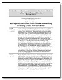 Bathing Beach Monitoring Protocols and C... by Dufour, Alfred P., Ph. D.