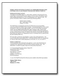 Public Notice of Intent to Issue an Unde... by Environmental Protection Agency