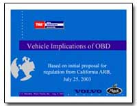 Vehicle Implications of Obd by Environmental Protection Agency