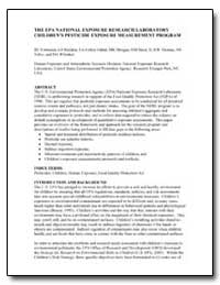 The Epa National Exposure Research Labor... by Environmental Protection Agency