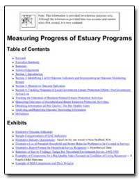 Measuring Progress of Estuary Programs by Environmental Protection Agency