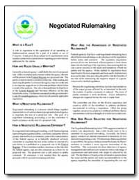 Negotiated Rulemaking by Environmental Protection Agency