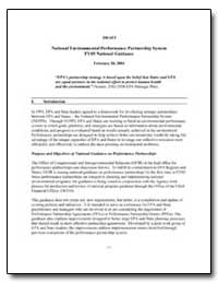 Draft National Environmental Performance... by Environmental Protection Agency