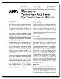 Wastewater Technology Fact Sheet Pipe Co... by Environmental Protection Agency