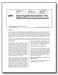 Improving Site Assessment : Cerclis Scre... by Environmental Protection Agency