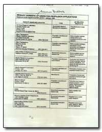 Primary Domestic Ap Users for Propulsion... by Environmental Protection Agency