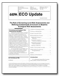 The Role of Screening-Level Risk Assessm... by Environmental Protection Agency