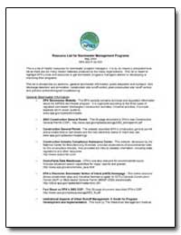 Resource List for Stormwater Management ... by Environmental Protection Agency