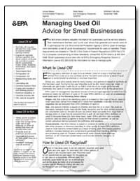 Managing Used Oil Advice for Small Busin... by Environmental Protection Agency