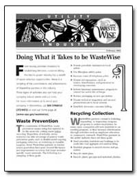 Doing What It Takes to Be Wastewise by Environmental Protection Agency