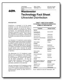 Wastewater Technology Fact Sheet Ultravi... by Environmental Protection Agency