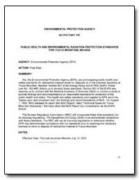 Public Health and Environmental Radiatio... by Environmental Protection Agency