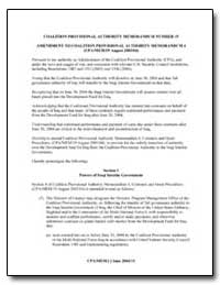Coalition Provisional Authority Memorand... by Bremer, L Pual