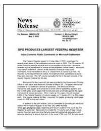 Gpo Produces Largest Federal Register by Bright, C. Michael