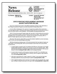 Gpo's Printing Procurement Program Saves... by Sherman, Andrew Magoun