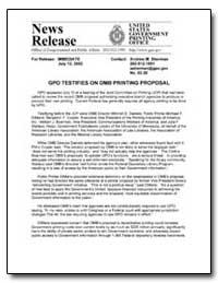 Gpo Testifies on Omb Printing Proposal by Sherman, Andrew Magoun