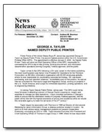 George A. Taylor Named Deputy Public Pri... by Sherman, Andrew Magoun