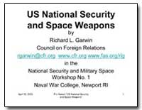 Us National Security and Space Weapons by Garwin, Richard L.