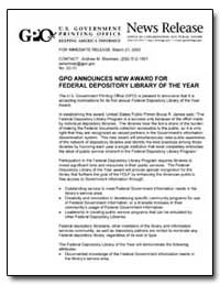 Gpo Announces New Award for Federal Depo... by Sherman, Andrew Magoun