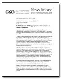 Gpo Makes Fy 2004 Appropriations Present... by Sherman, Andrew Magoun