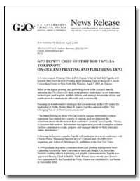 Gpo Deputy Chief of Staff Bob Tapella to... by Sherman, Andrew Magoun