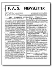 Aec Releases Oppenheimer Transcript by Livingston, M. Stanley