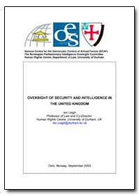 Oversight of Security and Intelligence i... by Leigh, Ian