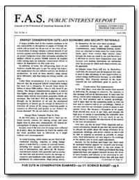 Energy Conservation Cuts Lack Economic a... by Stone, Jeremy J.