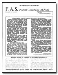 To Whom Are Public Interest Scientists R... by Rathjens, George W.