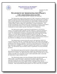 Statement of Administration Policy by