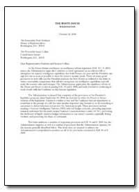 Dear Representative Hoekstra and Senator... by Bolten, Joshua B.