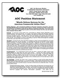 Aoc Position Statement Missile Defense S... by Hodgkins, A. R. Trey