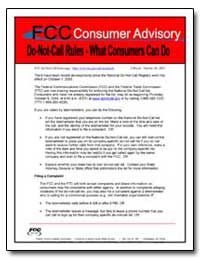 Fcc Consumer Advisory Do-Not-Call Rule I... by